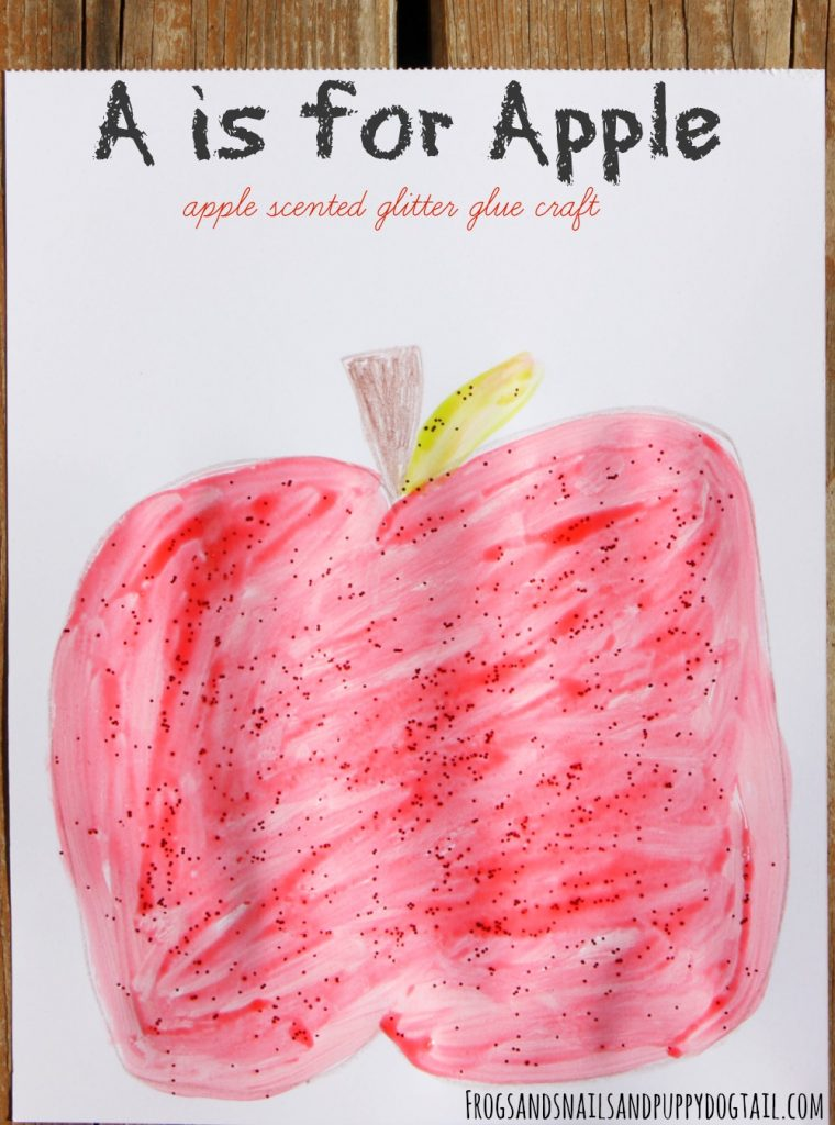 a is for apple craft and DIY apple scented glitter glue recipe