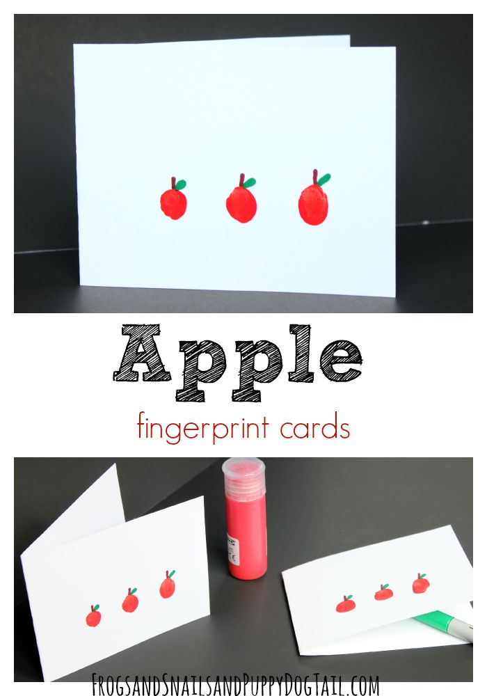apple fingerprint card craft for kids