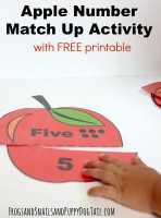 Apple Number Match Up Activity for Kids and Free Printables