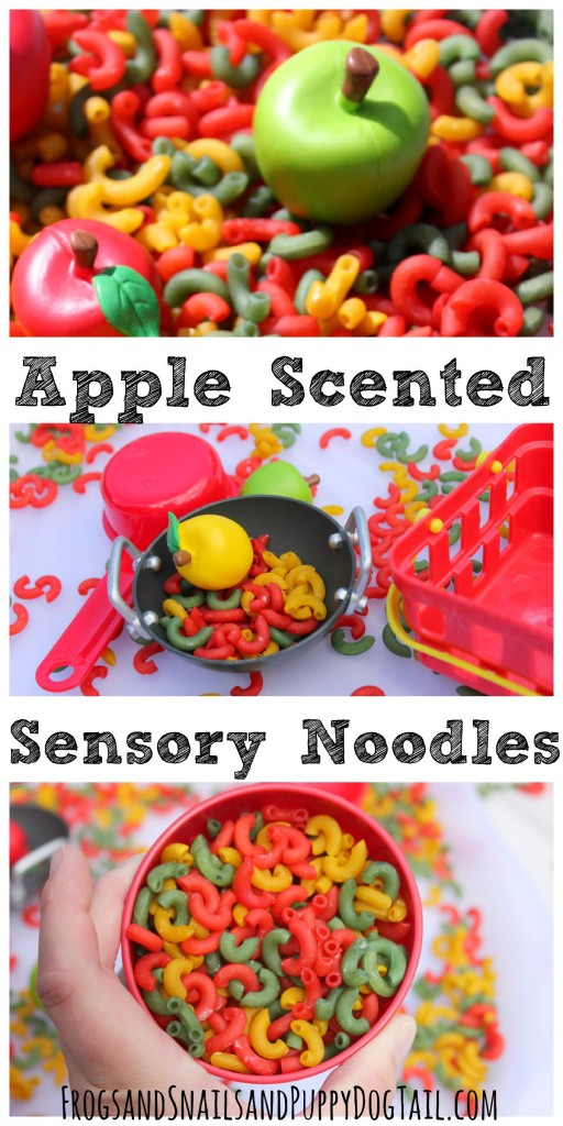 apple scented sensory noodles for play activities