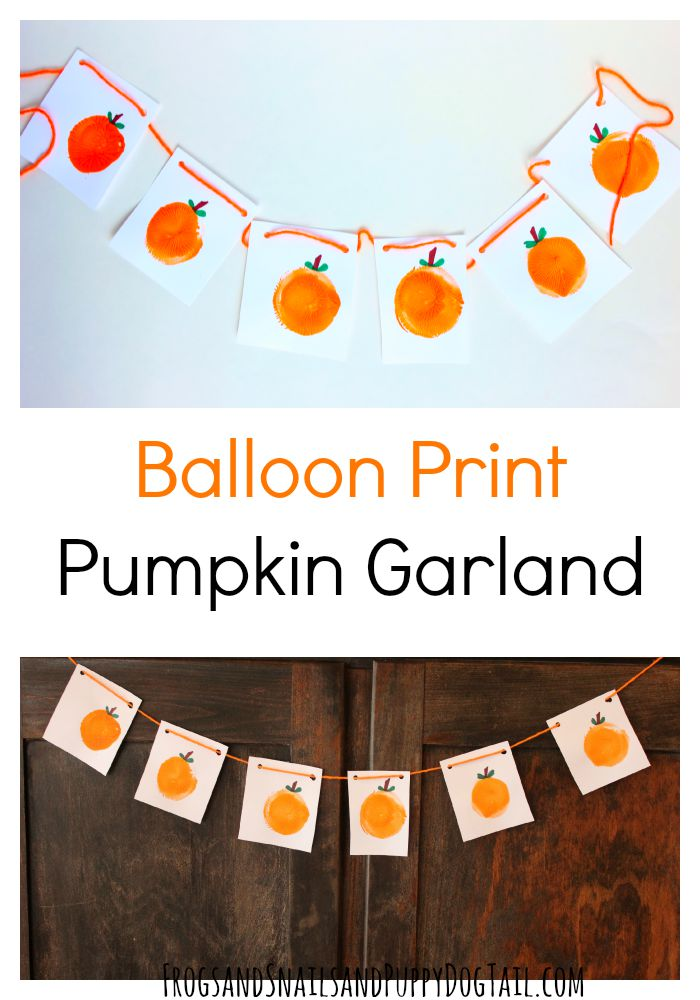 balloon print pumpkin garland craft for kids
