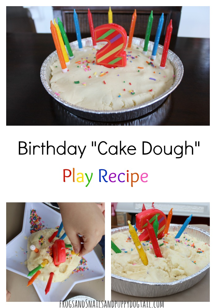 Birthday Cake Dough Play Recipe for sensory play