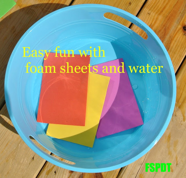 Easy fun with foam sheets and water