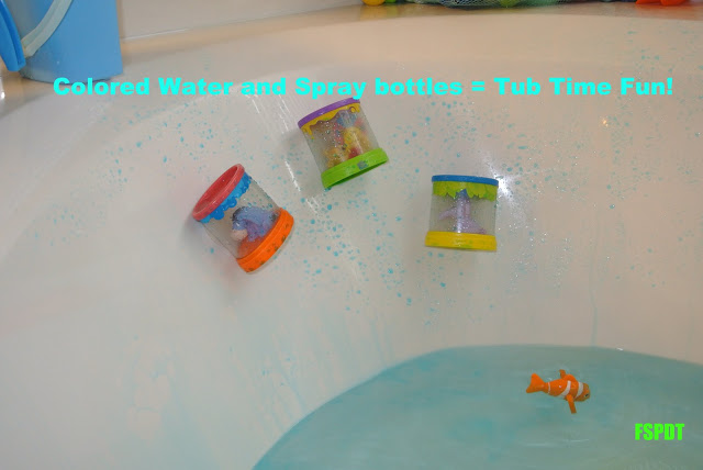 Spray Bottles in the Bath ~ Fine motor skills and sensor fun