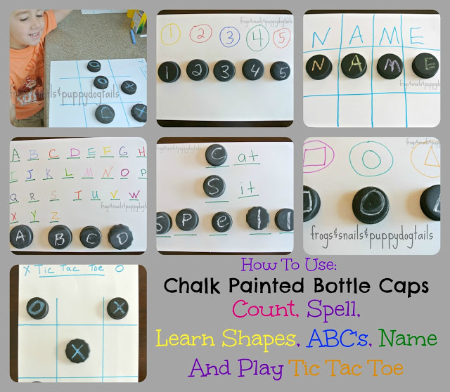 6 Fun Ways To Learn and Play With chalk Painted Bottle Caps