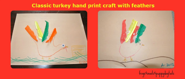 Classic turkey handprint craft with feathers -family tradition