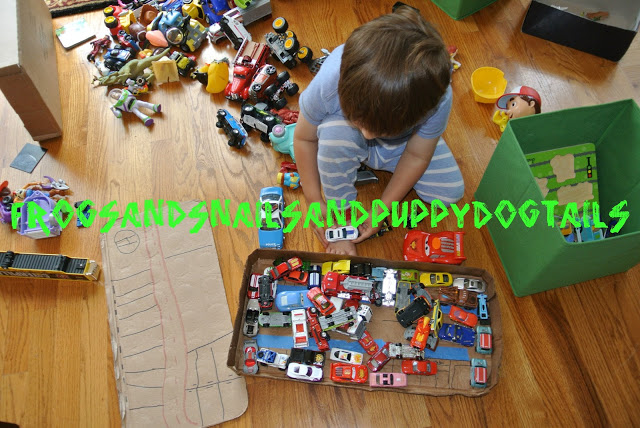 Cardboard City-one way to recycle-earth day activity for kids