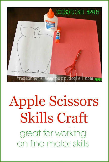 Apple Scissor Skill Craft and Coloring Page