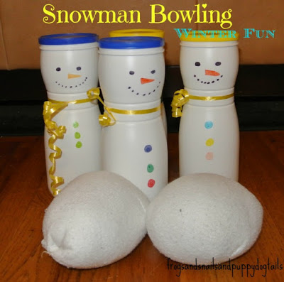 Snowman Bowling with sock snowballs