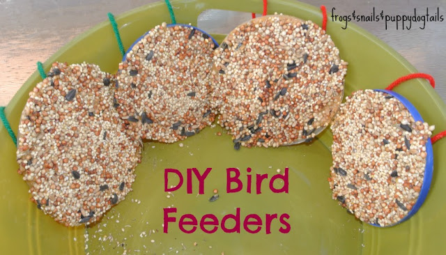 Bird feeders from plastic lids