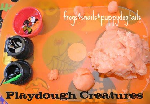 Playdough Creatures and a Cookie( Also links to more fun ways to play with playdough for Halloween)