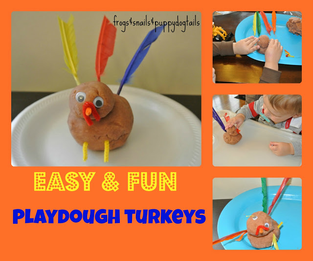 Playdough Turkeys Fun Thanksgiving Activity for the kids by FSPDT