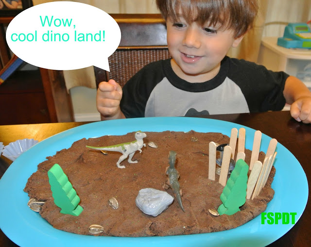Dino Land with mocha glitter playdough