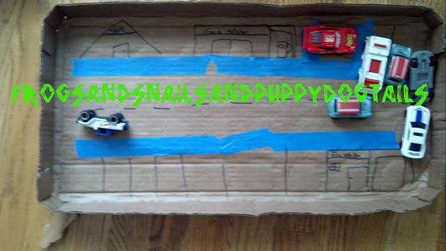 Cardboard City-one way to recycle- earth day activity for kids