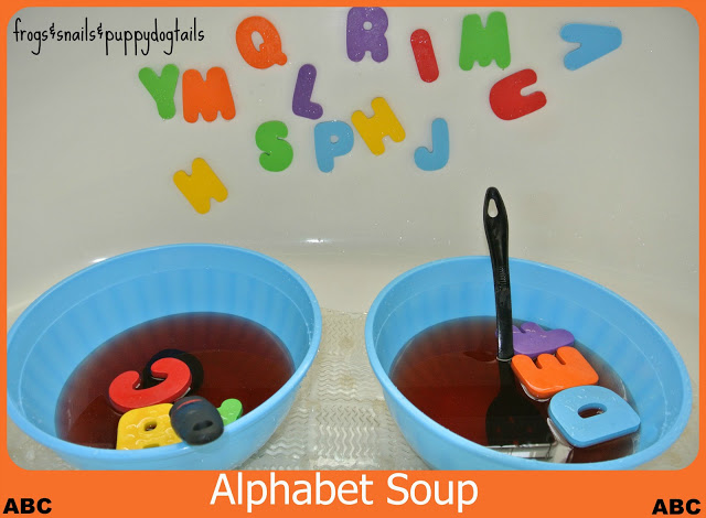 Alphabet Soup Bath-  cooking up some learning fun