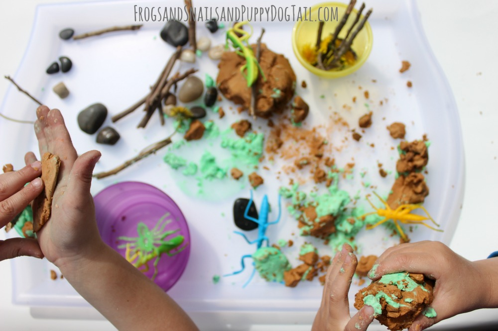 bugs and soap dough sensory play