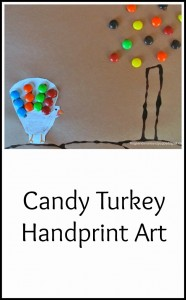 M&Ms Candy Turkey Handprint- Thanksgiving crafts for kids