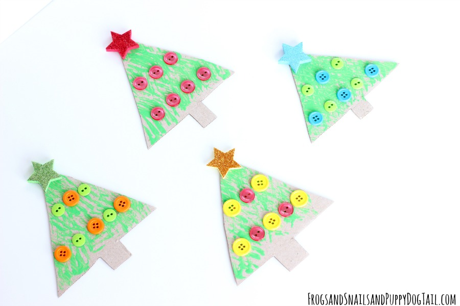 fork painted christmas tree craft