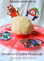 Cinnamon Crumble Playdough fine motor skills activity for kids