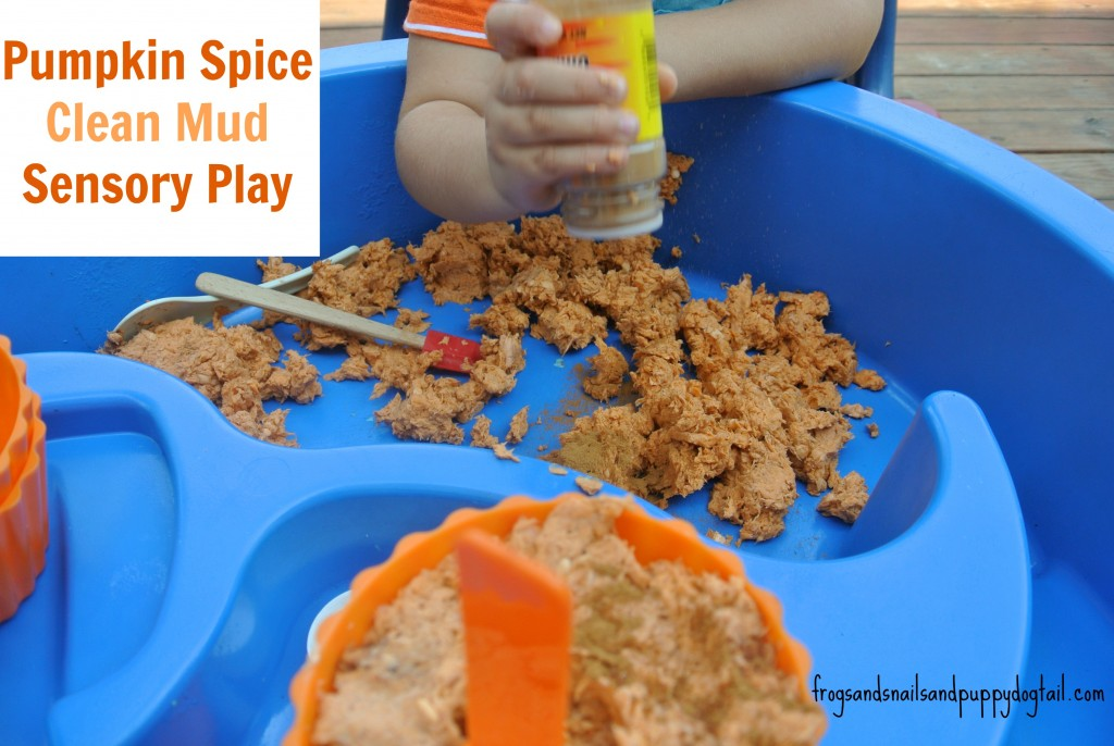 pumpkin clean mud sensory play idea