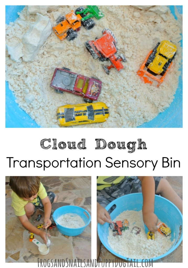 Cloud Dough Transportation Sensory Bin