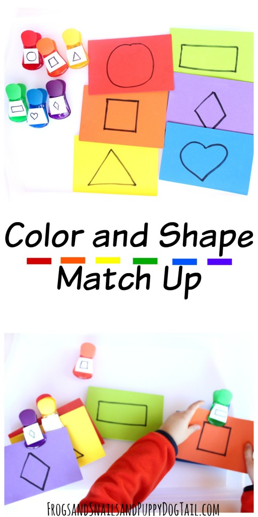 color and shape match up activity for kids