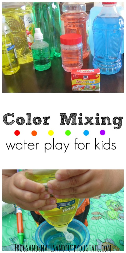 color mixing water play for kids