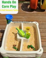corn sensory table for Fall