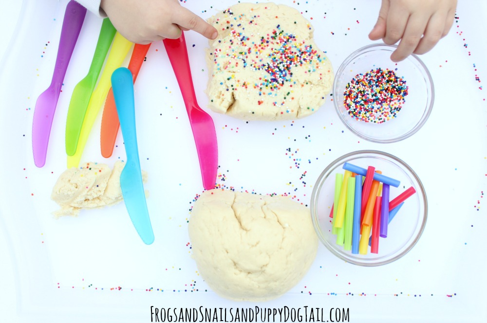 cream cheese playdough for sensory play
