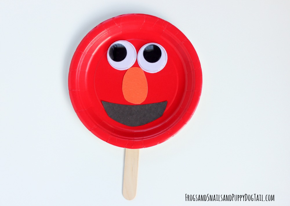 elmo paper plate puppet