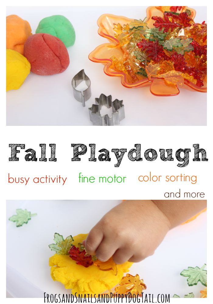 fall playdough for fine motor skills, color sorting, counting, and more