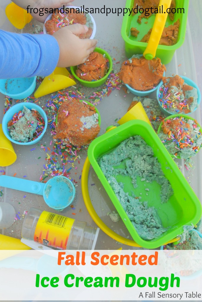 Fall scented ice cream dough sensory play