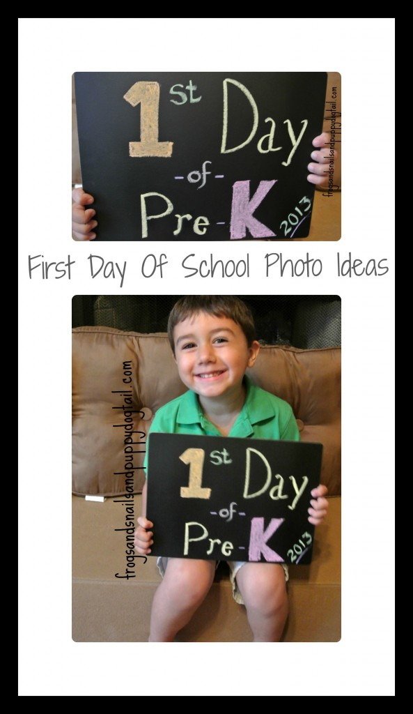 First day of school photo ideas with DIY chalkboard sign