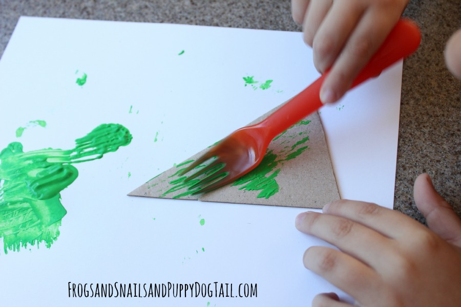 for painted Christmas tree craft for kids