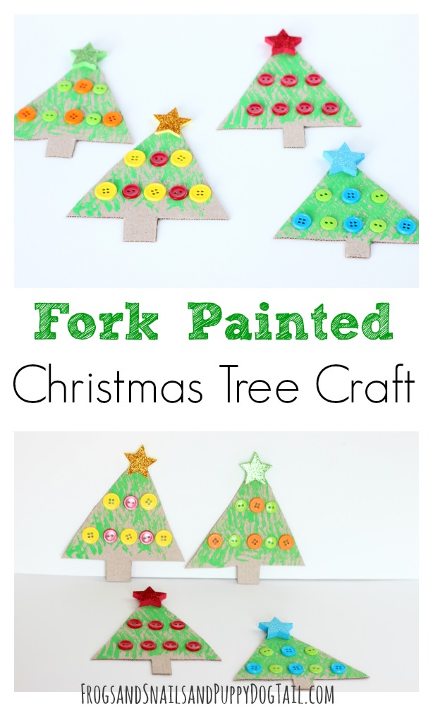 fork painted christmas tree craft for kids