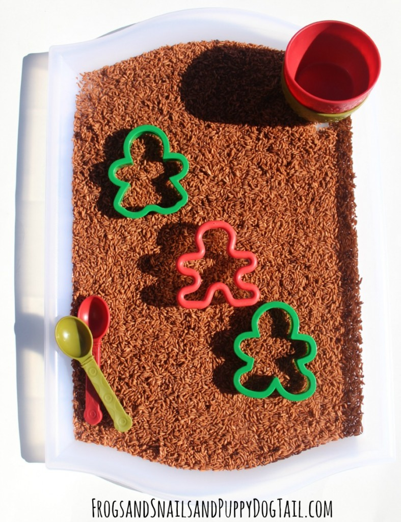 gingerbread rice sensory tray play activity idea