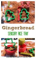 Gingerbread Scented Sensory Rice. DIY Play Recipe for Christmas Play Activities.