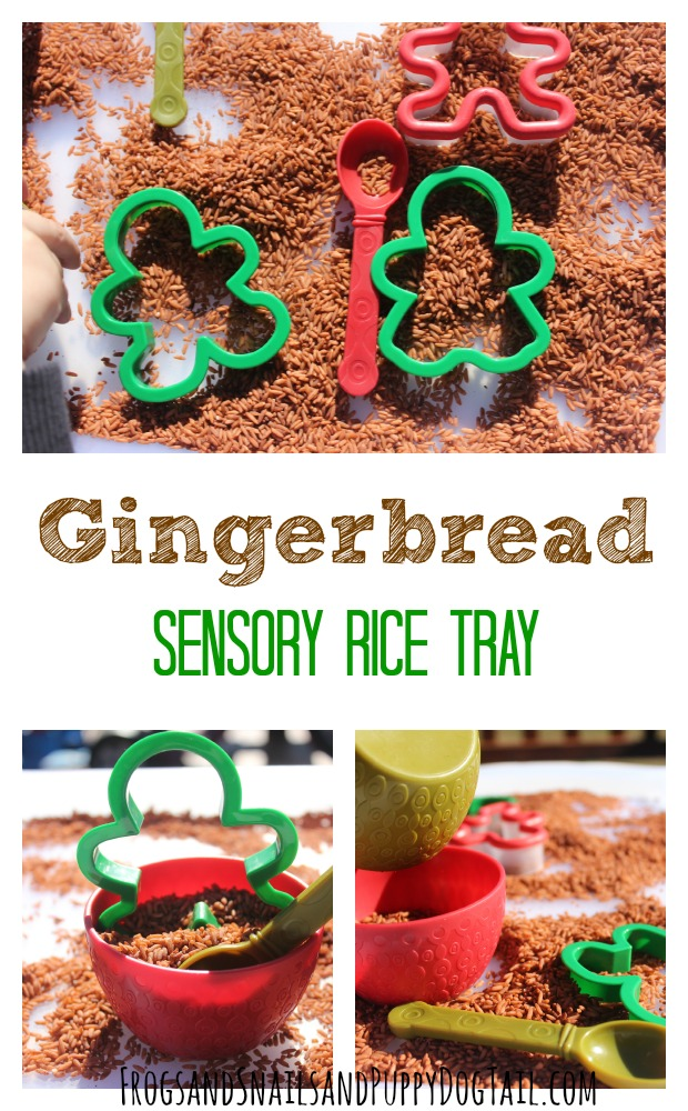 gingerbread scented sensory rice play activity idea for kids