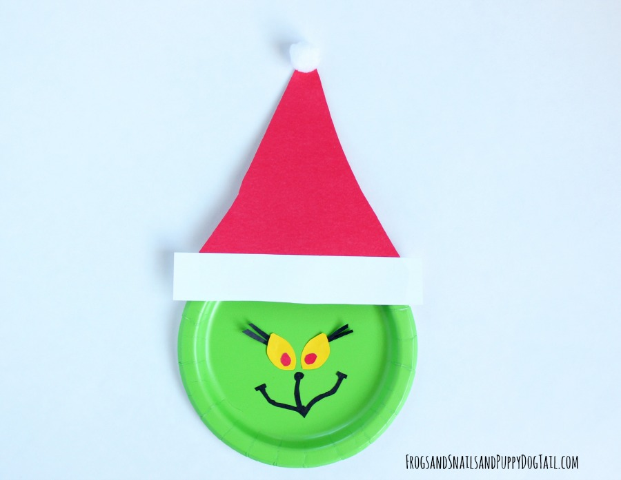 grinch paper plate christmas craft