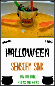 Halloween Sensory Sink- fun hands on play for kids