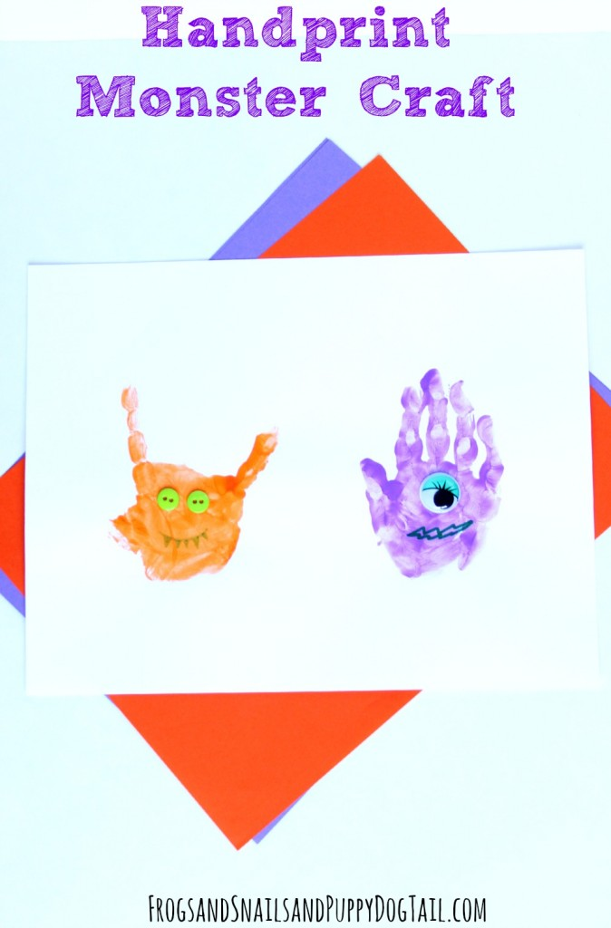 handprint monster craft for kids. Fun Halloween craft.