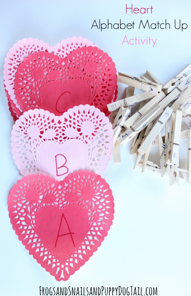 heart alphabet match up activity for kids. Fun valentine's day activity.