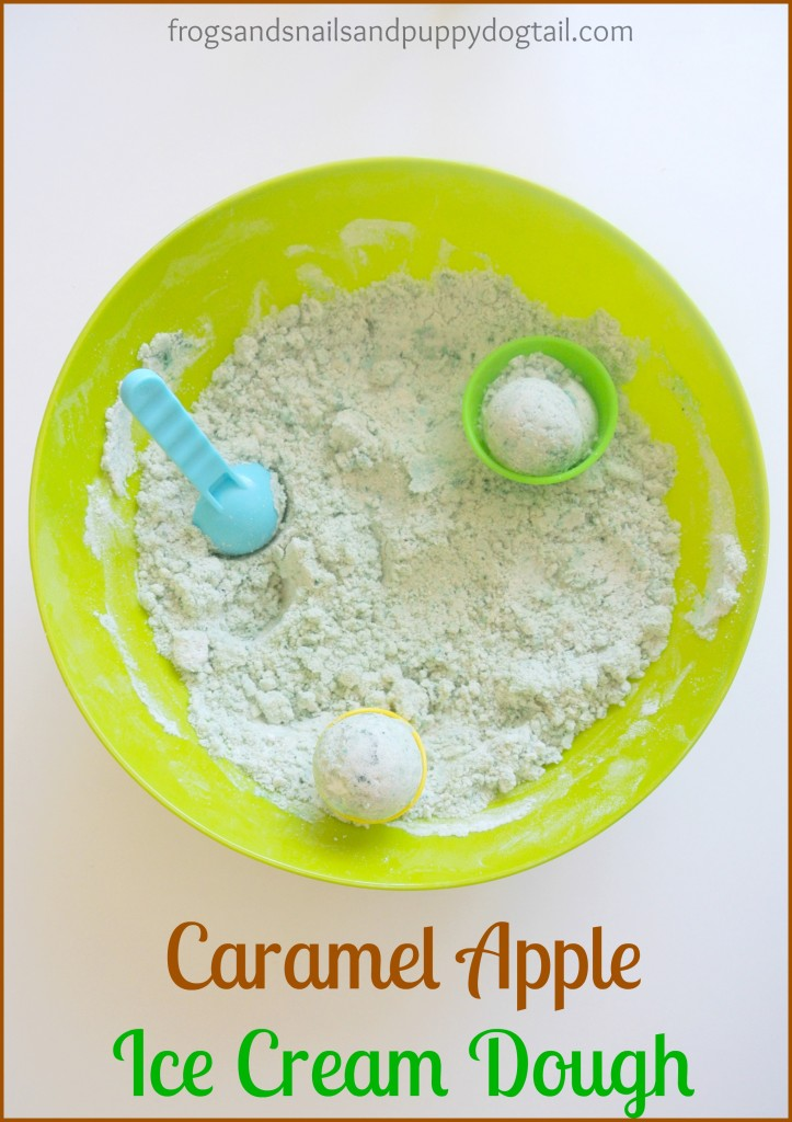 caramel apple ice cream dough for sensory play