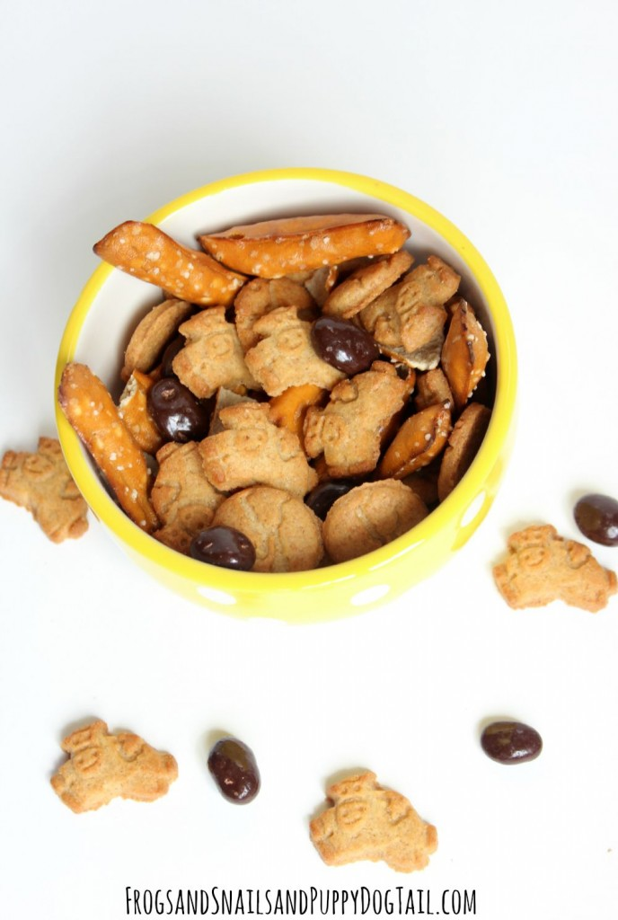 kid made sweet and salty snack mix