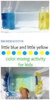 little blue and little yellow color mixing activity for kids. Fun simple science activity to go with this book.