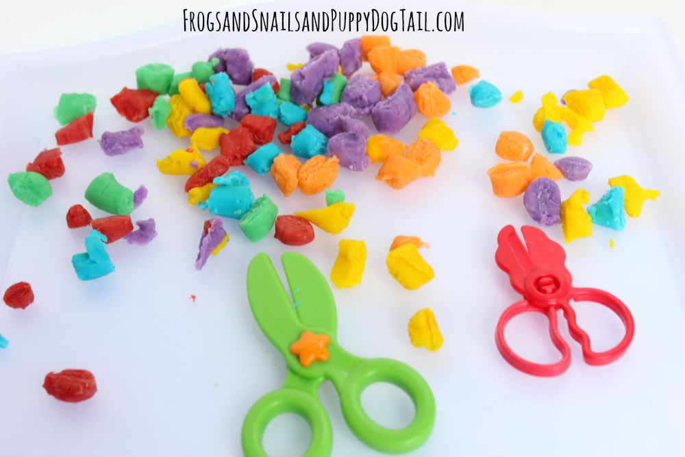 scissor skills with playdough