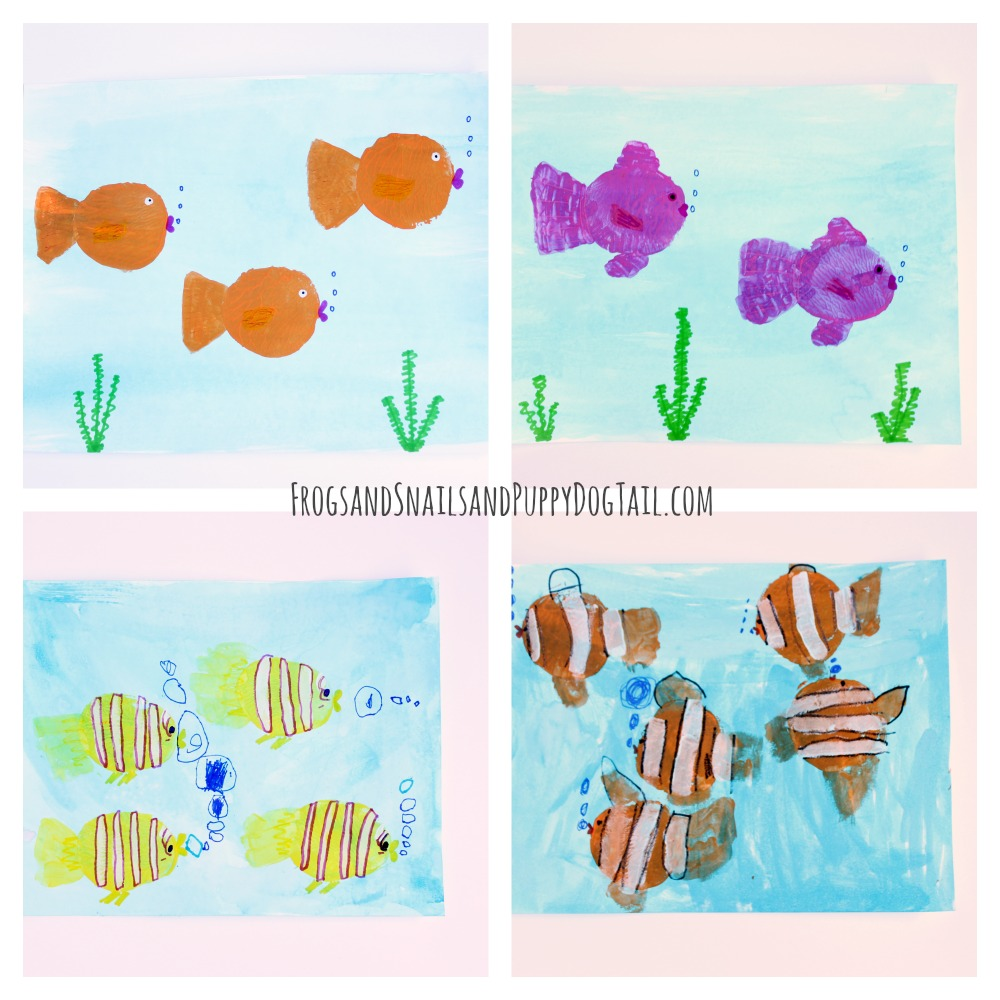 potato print fish craft for kids