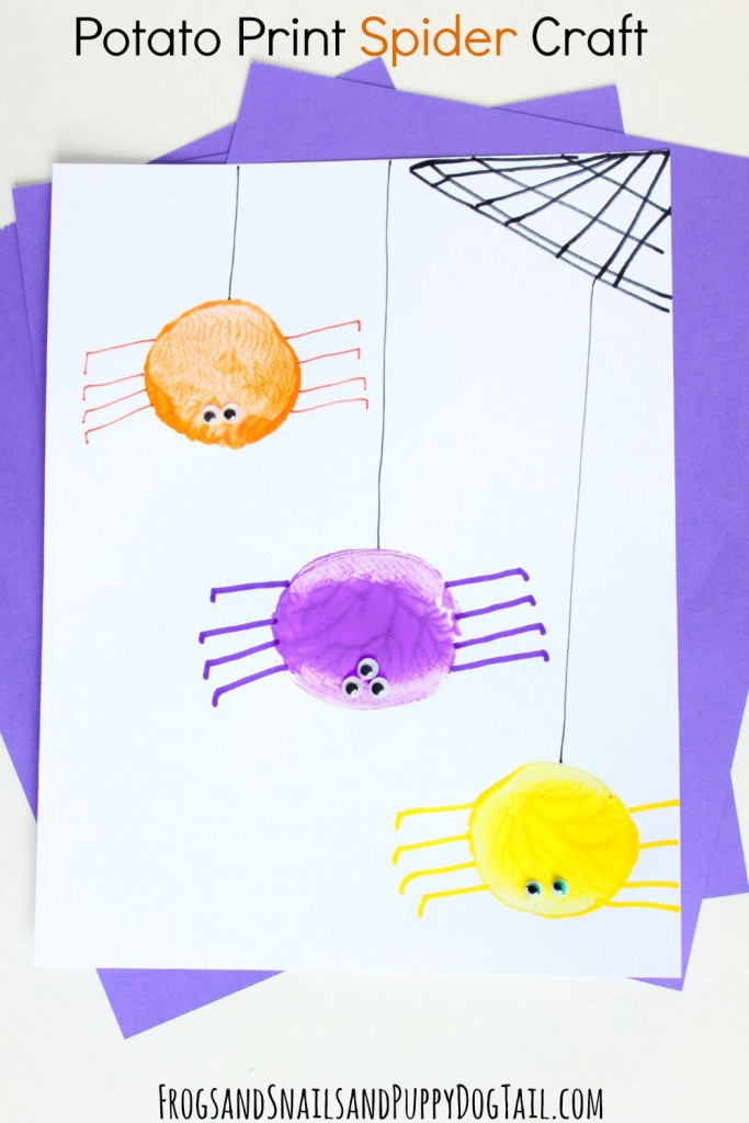 Potato Print Spider Craft for kids