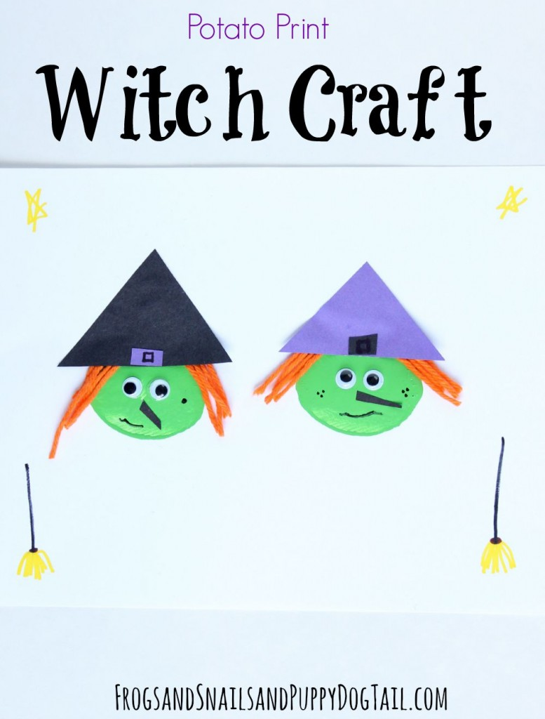 potato print witch craft for Halloween