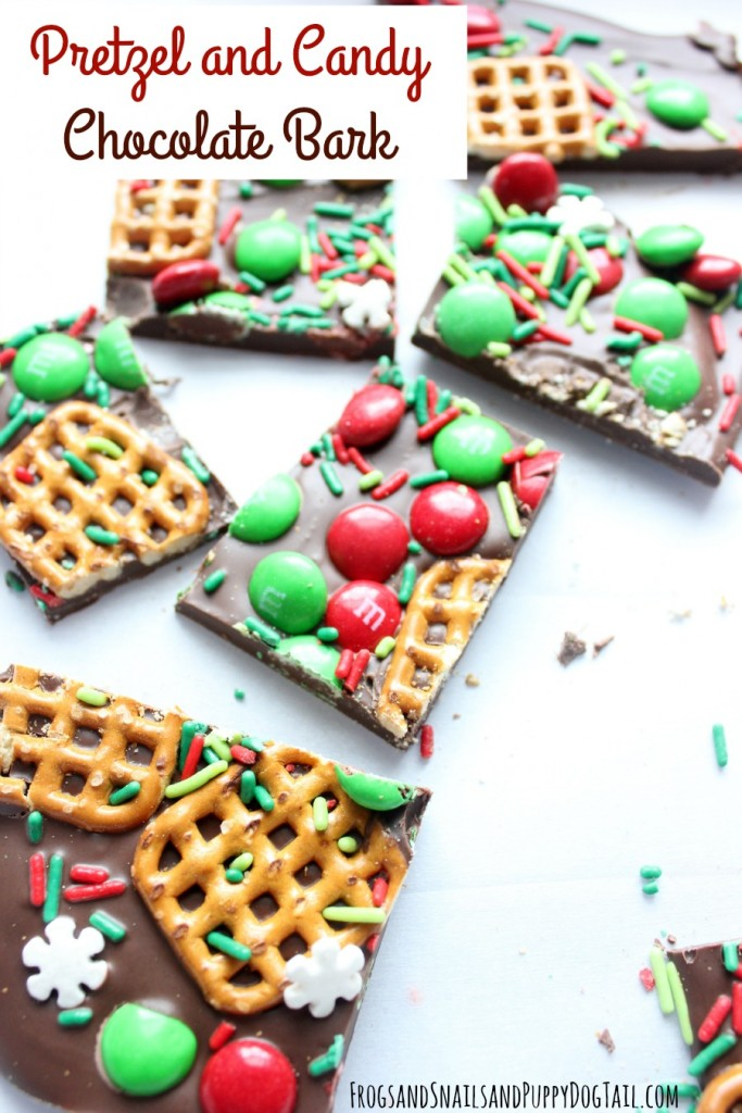 pretzel and candy chocolate bark